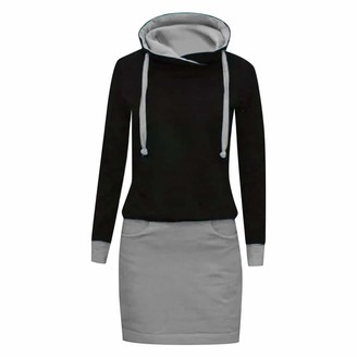 CUTUDU Womens Long Sleeve Jumper Dress Casual Knitted Button O- Neck Color Block Knee Dresses Tunic Ladies Stitching Loose Pullover Sweater Tops (Gray M)