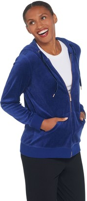 Denim & Co. Active Velour Zip Front Long Sleeve Hooded Jacket