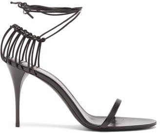 Saint Laurent Lexi Wrap-around Cage-heel Leather Sandals - Womens - Black