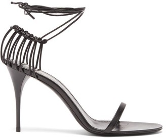 Saint Laurent Lexi Wraparound Cage-heel Leather Sandals - Black