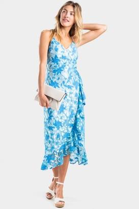 francesca's Brenda Lace Faux Wrap Dress - Blue