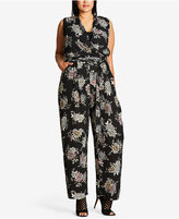 City Chic Trendy Plus Size Floral-Print Wide-Leg Jumpsuit