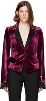 Haider Ackermann Burgundy Embroidered Velvet Crop Blazer