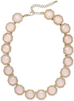 Charter Club Gold-Tone Milky Pink Stone Collar Necklace