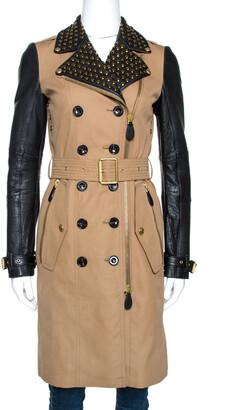 Burberry Bicolor Cotton Leather Trim Studded Coat XS