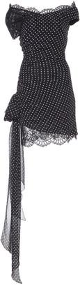 Dundas Lace-Trimmed Polka-Dot Silk Mini Dress