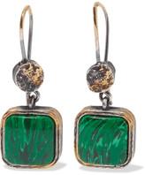 Bottega Veneta Oxidized Silver Malachite Earrings - one size