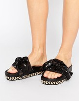 Sixty Seven SixtySeven Black Bow Slide Flat Sandals