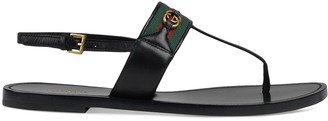 Gucci Web stripe T-bar flat sandals