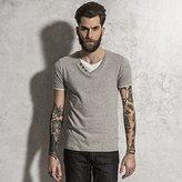Brave Soul Mens Fable V-Neck T-Shirt With Mock Under Shirt (M)