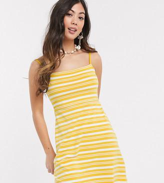 Asos DESIGN Petite Exclusive square neck stripe mini dress in mustard