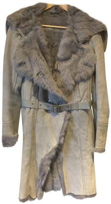 Patrizia Pepe Grey Leather Coat for Women
