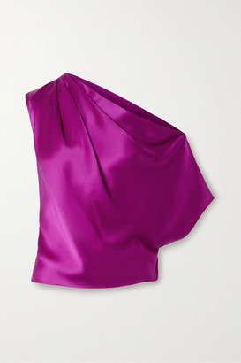Mason by Michelle Mason One-shoulder Draped Silk-satin Top