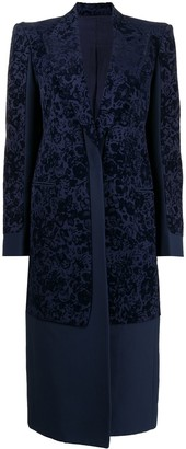 Céline Pre-Owned Pre-Owned Floral-Jacquard Single-Breasted Coat