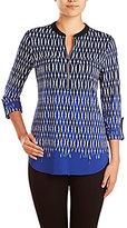 Peter Nygard Utility 3/4 Roll-Tab Sleeve Zipper Neckline Shirt