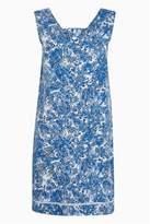 Next Womens Navy/White Tie Waist Tunic - Blue