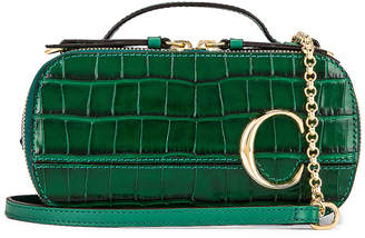 Chloé Mini C Embossed Croc Vanity Bag in Woodsy Green | FWRD