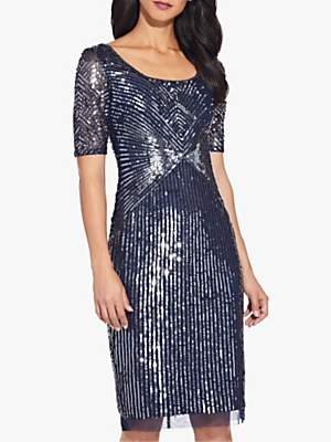 Adrianna Papell Beaded Knee Length Dress, Navy
