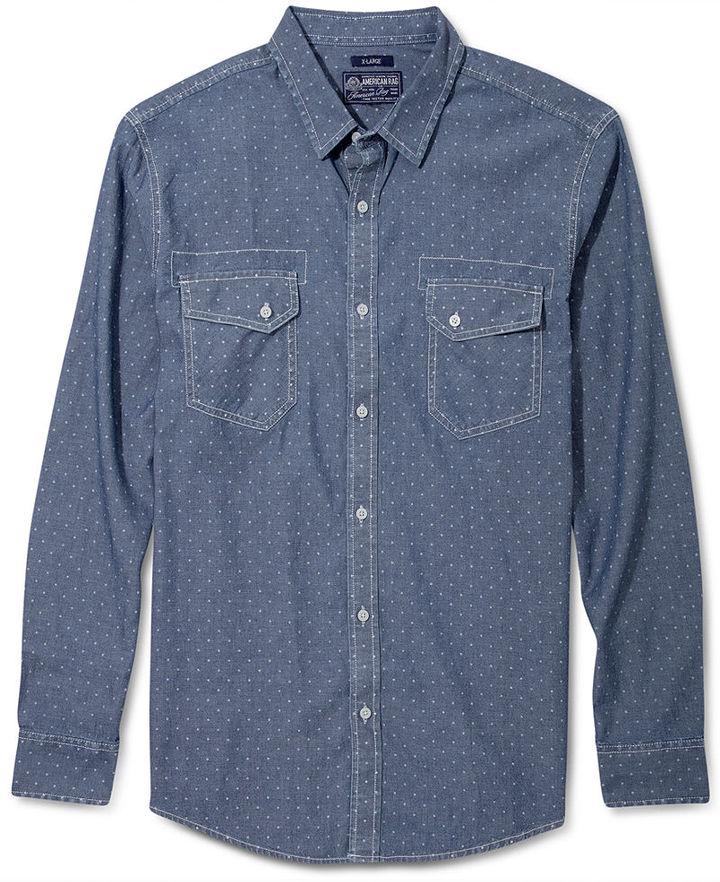 American Rag Shirt, Every Day Value Dot Print Chambray Shirt
