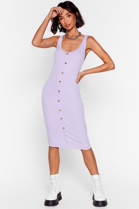 Nasty Gal Womens Button-Down to Play Ribbed Midi Dress - Lilac