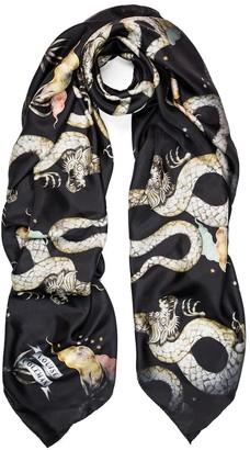Louise Coleman Magic Dragon Midnight Silk Scarf