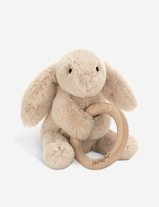 Jellycat Shooshu bunny wooden ring soft toy 14cm