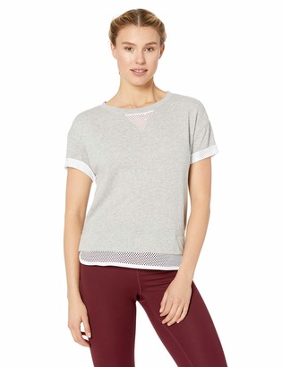 Andrew Marc Women's Short Sleeve 2fer Pullover with Mesh