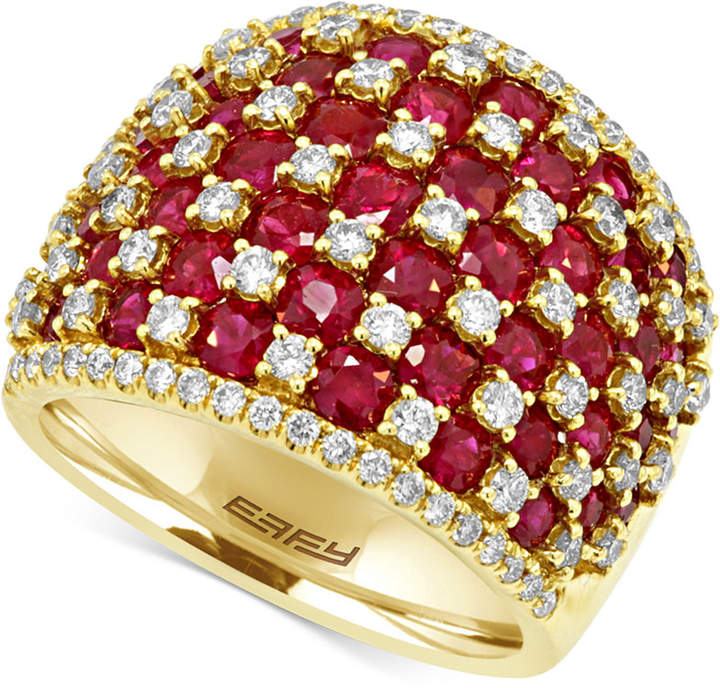 Effy Ruby (4-1/2 ct. t.w.) and Diamond (1-1/4 ct. t.w.) Ring in 14k Gold, Created for Macy's