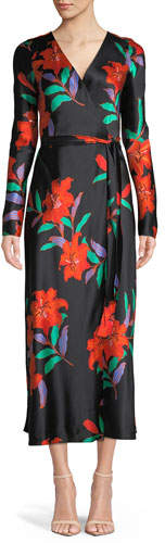 Diane von Furstenberg Long-Sleeve Floral Silk Wrap Dress