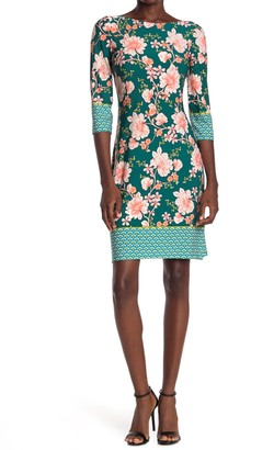 London Times Floral Jersey Sheath Dress