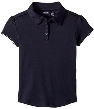 Nautica Short Sleeve Interlock Polo (Little Kids) (Su Navy) Girl's Clothing
