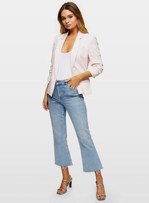 Miss Selfridge Pale Pink Ruched Sleeve Blazer