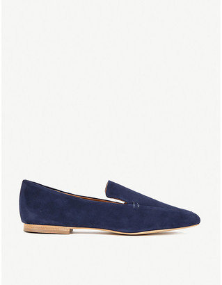 The White Company Squared-toe suede loafers