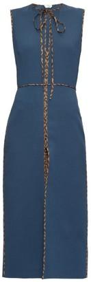 Fendi Ff Logo-trimmed Tie-neck Wool Midi Dress - Womens - Navy Multi