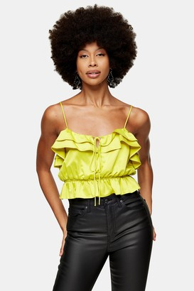 Topshop Womens Chartreuse Classic Ruffle Cami - Chartreuse