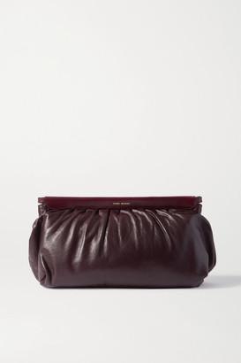 Isabel Marant Luz Studded Leather Clutch - Burgundy