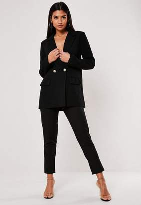 Missguided Black Co Ord Long Military Button Blazer