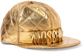Moschino Embellished metallic quilted leather cap