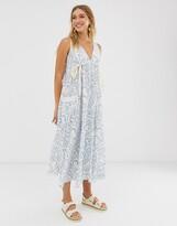 Asos Design DESIGN trapeze drawstring maxi dress in squiggle print