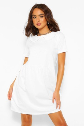 boohoo Frill Collar Cotton Mix Smock Dress