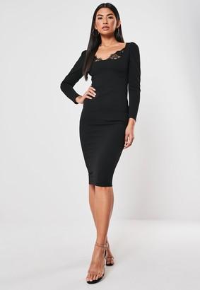 Missguided Petite Black Lace Cupped Mini Dress