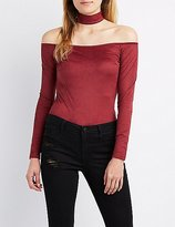 Charlotte Russe Faux Suede Choker Neck Top