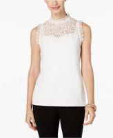 Thalia Sodi Mock-Neck Lace Illusion Top, Only at Macy's