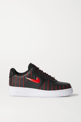Nike Air Force 1 Jewel Qs Pinstriped Leather Sneakers - Black