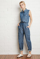 Forever 21 FOREVER 21+ Zip-Front Chambray Jumpsuit