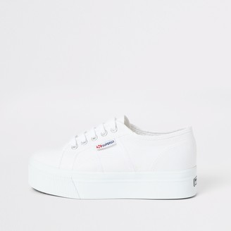 Superga River Island Womens White flatform runner trainers