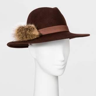 A New Day Women's Felt Wide Brim Fedora Hat Brown