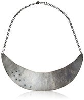 Melissa Joy Manning Mixed Metals Gold Ball Detail and Silver Hammered Collar Necklace