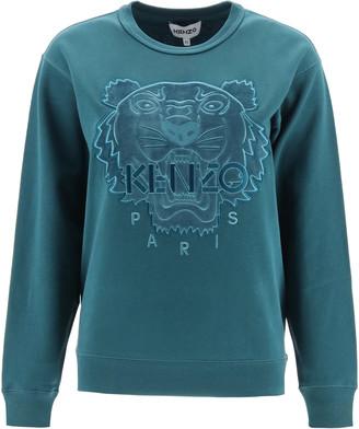 Kenzo HOODED SWEATSHIRT TIGER VELVET PATCH S Blue Cotton
