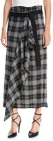 Brunello Cucinelli Prince of Wales Check Wrap Skirt with Ruffle